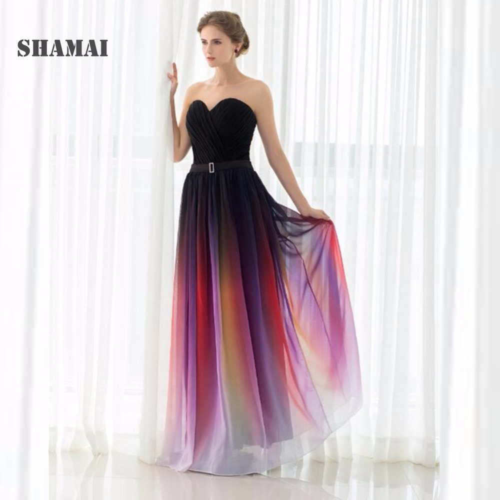 SHAMAI New Gradient Colorful Sexy   Dresses   Ombre Chiffon   Prom     Dress   Evening   Dress   Strapless Pleats Women Formal Occasion   Dress