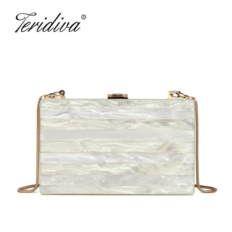 цены на Teridiva Women Evening Party Box Clutch Bag Hard Case Day Clutches Purse Wedding Bridal Shoulder Crossbody Handbag Acrylic Bag