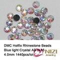 DMC Hotfix Strass 1440 pcs ss16 Cristal AB Apartamento de Volta o Apoio Cola Ferro Em Vidro Diamantes DIY Artesanato Decorações Vestuário