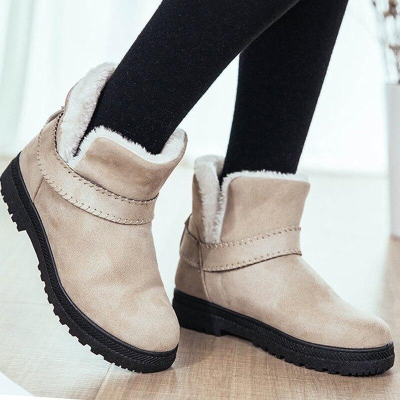 Casual black Peluche Suede Chaussures En Bottes forme Slip gris Sur rouge Plus Hiver Femme Chaud Plat Cheville Neige Courtes Beige Femmes Size Plate qRfn8Fwx