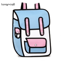 Women Backpack Quadratic Element Cartoon Men Backpack School Bag 3D Style Canvas 2D Drawing Female Backpack