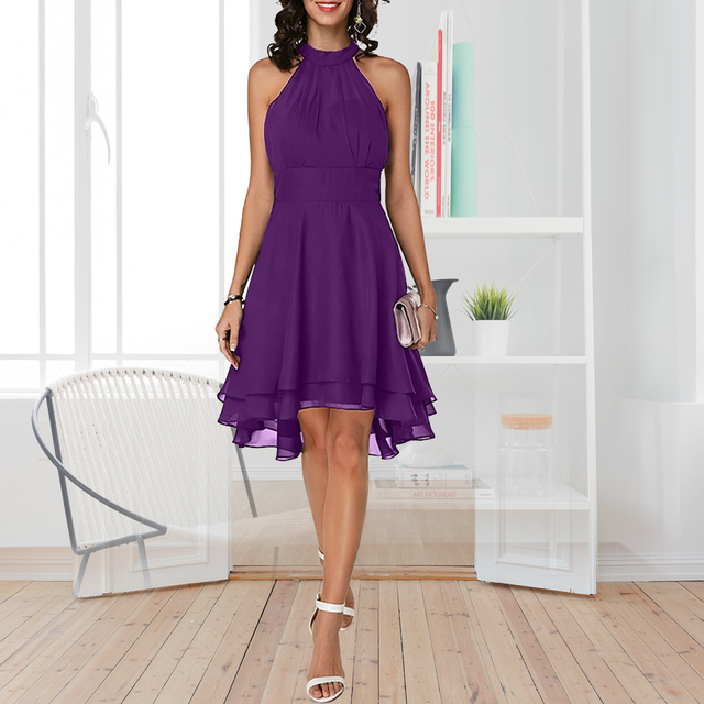 Plus Size Summer Dress 2019 Sexy High Waist Solid Color Cropped Layered Halter Sleeveless Chiffon Party Casual Slim Dress 4