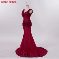 Burgundy Long Lace Mermaid Evening Dresses Party Beautiful Crystal Beaded Women Prom Formal Evening Gowns Dresses