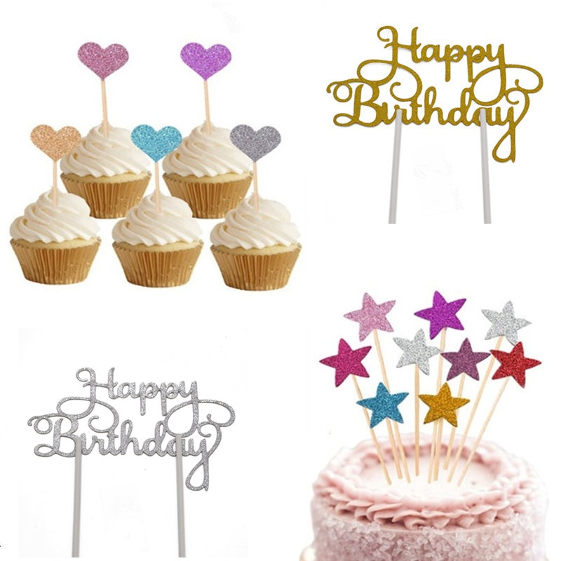 fa1ddd3b Detail Feedback Questions about Star Heart Glitter Paper Cupcake Toppers  Happy Birthday Cake Topper Baby Shower Wedding Birthday Cake Decorating  Tools ...