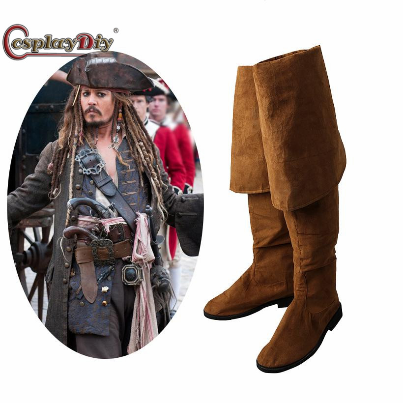 Cosplaydiy Pirates of the Caribbean 5 Cosplay shoes Captain Jack Sparrow Cosplay Cosplay Boots Halloween Costumes Accessories