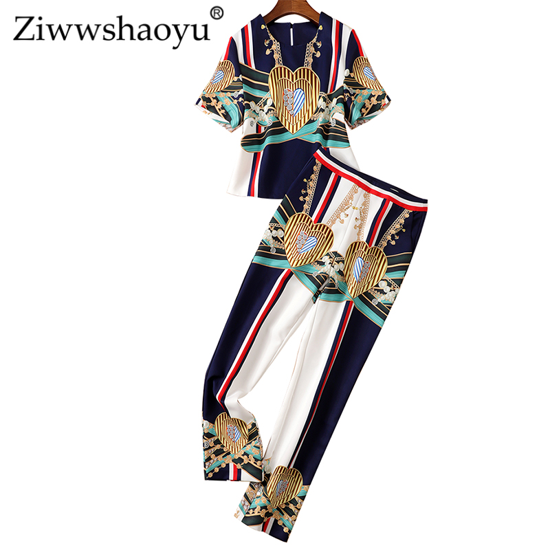 Ziwwshaoyu Fashion Print Sets O-Neck Short Top + High Waist Full Length Temperament Slim Sets Spring And Summer New Women's