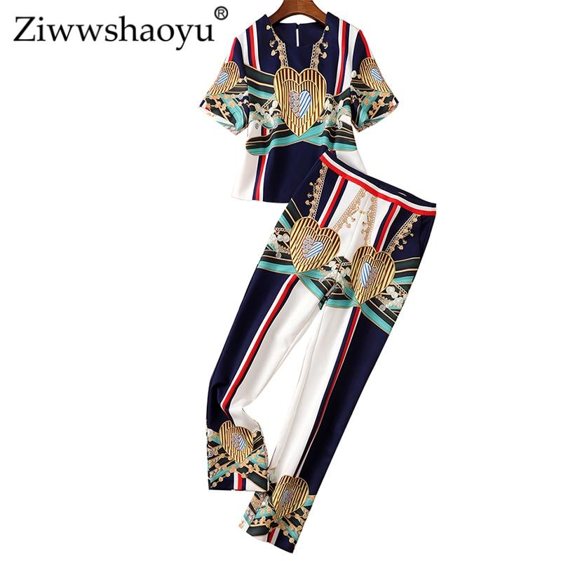 Ziwwshaoyu Fashion Print Sets O-Neck Short Top + High Waist Full Length Temperament Slim Sets Spring And Summer New Women's