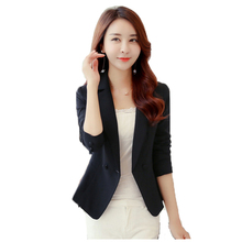 цена на Blazer women's spring and autumn new S-3XL plus size Slim Korean  blazer red black long sleeve short fashion suit blazers JD327