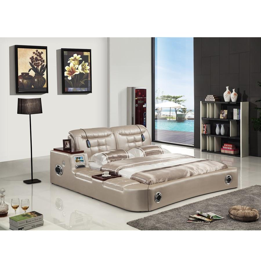 Betten Wohnmöbel Gutherzig Echte Echtem Leder Bett Tv Weichen Betten Schlafzimmer Camas Lit Muebles De Dormitorio Yatak Mobilya Quarto Massage Lautsprecher Bluetooth