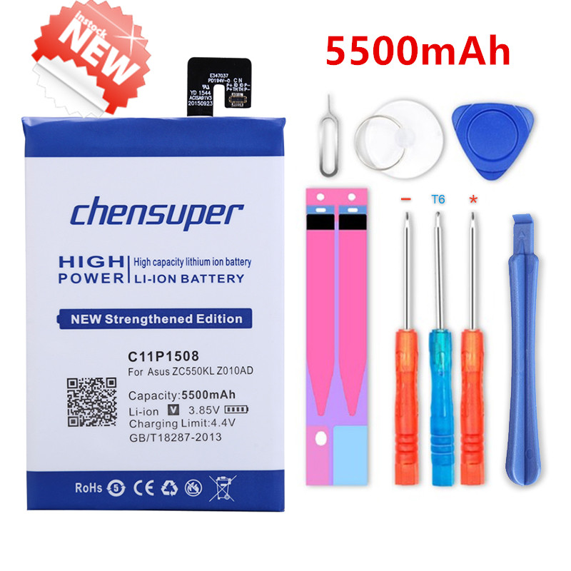 chensuper 5500mAh Phone Li-ion <font><b>Battery</b></font> C11P1508 For ASUS Zonfone max <font><b>ZC550KL</b></font> Z010AD Z010D Z010DA Well-tested Phone <font><b>Battery</b></font> image