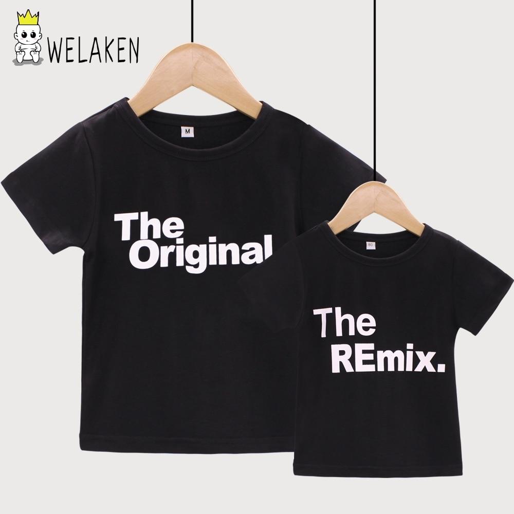 WeLaken 2018 Новая модная одежда для всей семьи с принтом букв оригинальный Remix Семья футболки Одежда для пап и сыновей ...