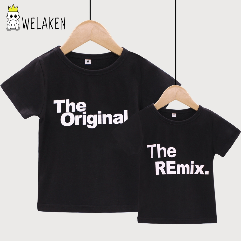 weLaken 2018 New Fashion Family Matching Outfits Letter Printed The Original Remix Family T-shirts Father and Son Clothes