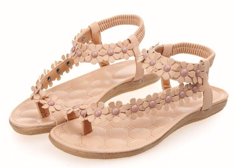 5d3c29a3e544 Cheap Cute Flower Summer Flipflop Sandals Nude White Leather Flower Flat  Summer Sandals Trendy New Brand Leather Flower Sandals-in Women s Sandals  from ...