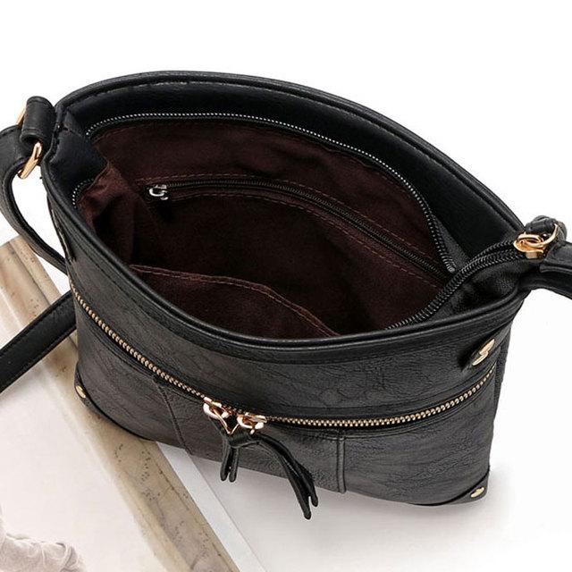2017 European Vintage Women Bag Double Zipper Women Messenger Bags High Quality PU Shoulder Bag Crossbody