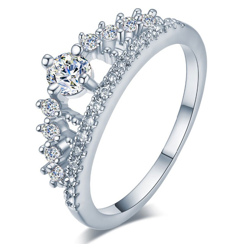 Engagement Party Ring New Fashion Crystal Rhinestone Crown Rings For Women Party Cute Elegant Luxury Sliver Plated Rings 3