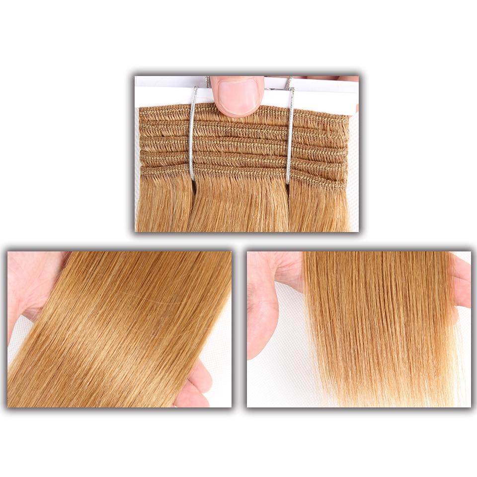 Image 2 - Sleek Double Drawn Brazilian Yaki Straight Human Hair Weave Bundles Remy Pure Color Brown Burgundy Red 99J Hair Bundles 113gHair Weaves   -
