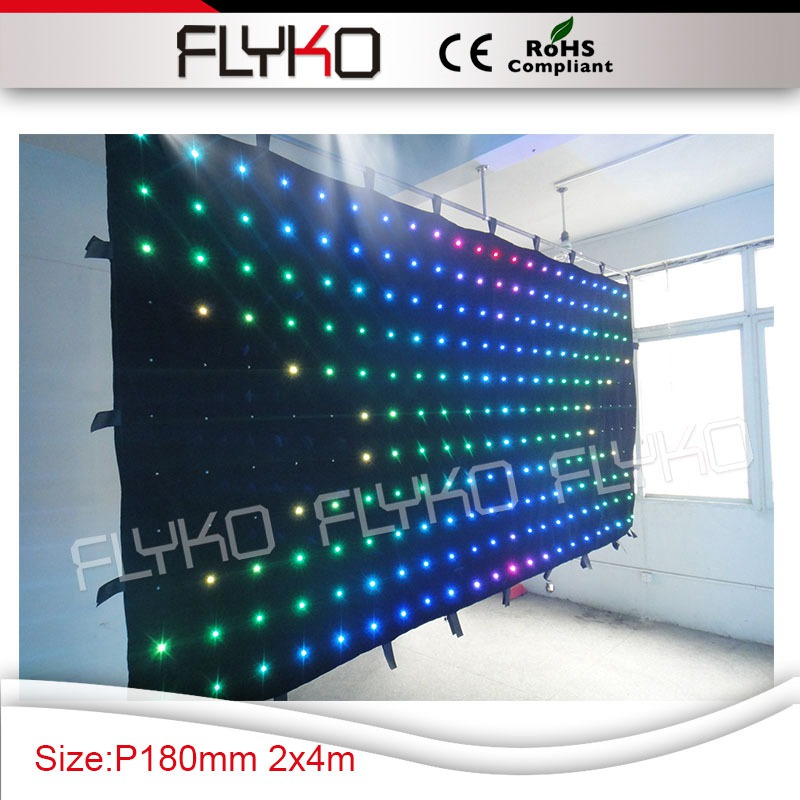 New hot size 2x4m fireproof cloth P180MM 3in1 coloful leds led curtain display dj decoration screen