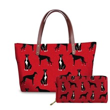 NOISYDESIGNS Shoulder Bag Women Greyhound Black Pet Printing Top-handle Bags Casual Tote Female Handbags Leather Purse Ladies