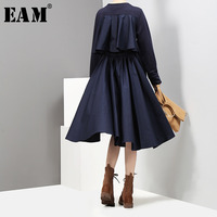 [EAM] 2019 New Auutmn Solid Color Round Neck Long Sleeve Back Split Joint Irregular Hollow Out Dress Women Fashion Tide JC734