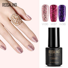 ROSALIND Gel 1 S 7 ml diamante brillo W30-50 Gel esmalte uñas arte UV LED remojo laca de Gel Semi permanente con purpurina(China)