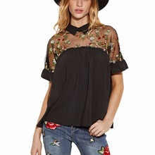 New Women's Cute Floral Embroidered Sheer Neck Ruffle Cuff Collared Chiffon Blouse Black
