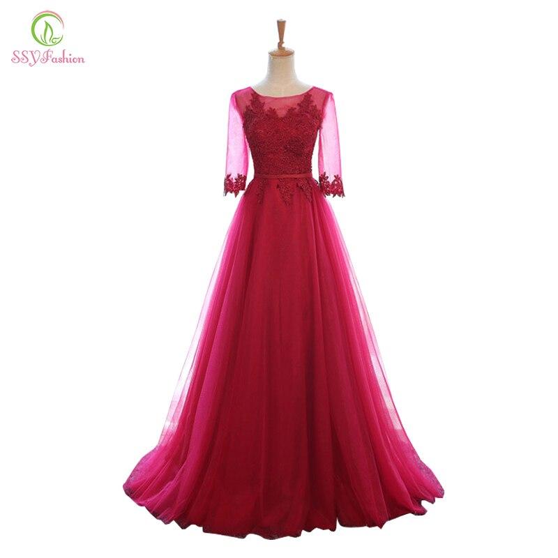 Ssyfashion Long Sleeve Wedding Dresses The Bride Elegant: SSYFashion Long Wine Red Evening Dress The Elegant Lace