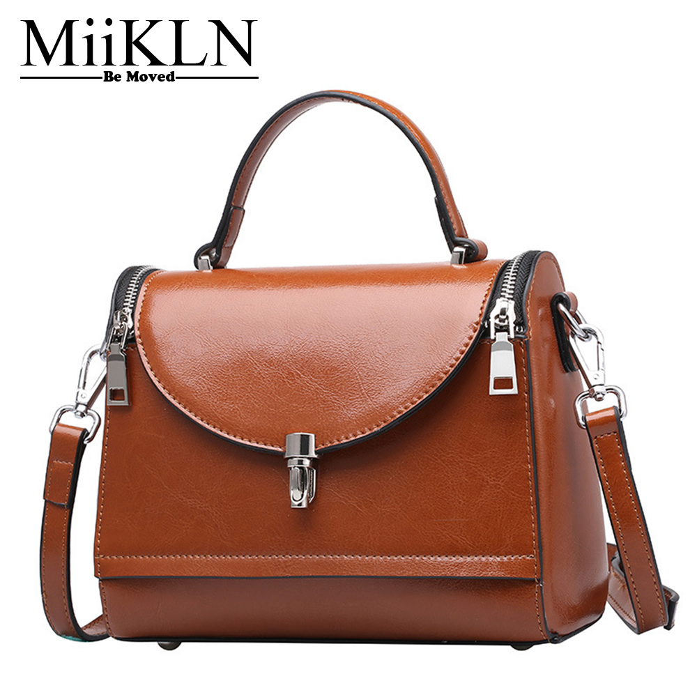 MiiKLN beauty Маленькая женская откидная сумка для натуральной кожи женская сумка через плечо сумки из коровьей кожи, на молнии женская сумка