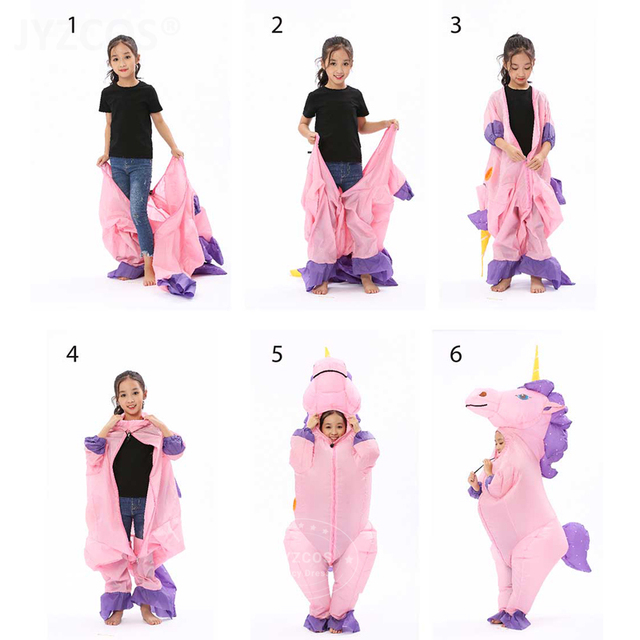 JYZCOS New Unisex Adults Kids Inflatable Unicorn Costume Carnival Halloween Costumes Animal Cosplay Clothing Fancy Dress Suits 5