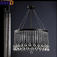 IWHD 6 Heads Crystal Vintage Lamp Industrial Pendant Lights Fixteres Loft Style Retro Iron Pendant Lamp Lamparas Home Lighting