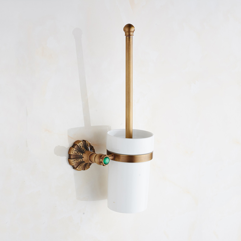 Bronze Toilet Brush Holder Set Antique Vintage Jade Brass Wall Mounted WC Brush Holders with Ceramic Cup Bathroom Accessories simple bathroom ceramic wash four piece suit cosmetics supply brush cup set gift lo861050