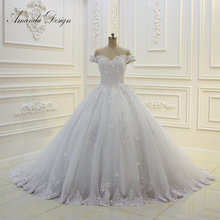 Amanda Chen Design Off Shoulder Lace Applique Wedding Dress