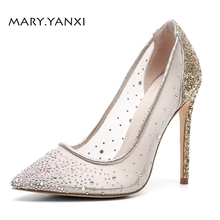 Women Pumps Big Size Shoes Gold Crystal Bling Mesh Transparent High Thin Heels Pointed Toe Fashion Party Sexy Slip-On Shallow women pumps big size shoes gold crystal bling mesh transparent high thin heels pointed toe fashion party sexy slip on shallow
