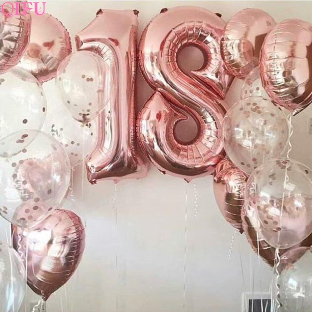 QIFU Rose Gold Balloon 18th Birthday Party Decorations Adult Baloons 18 Years Baloes Number