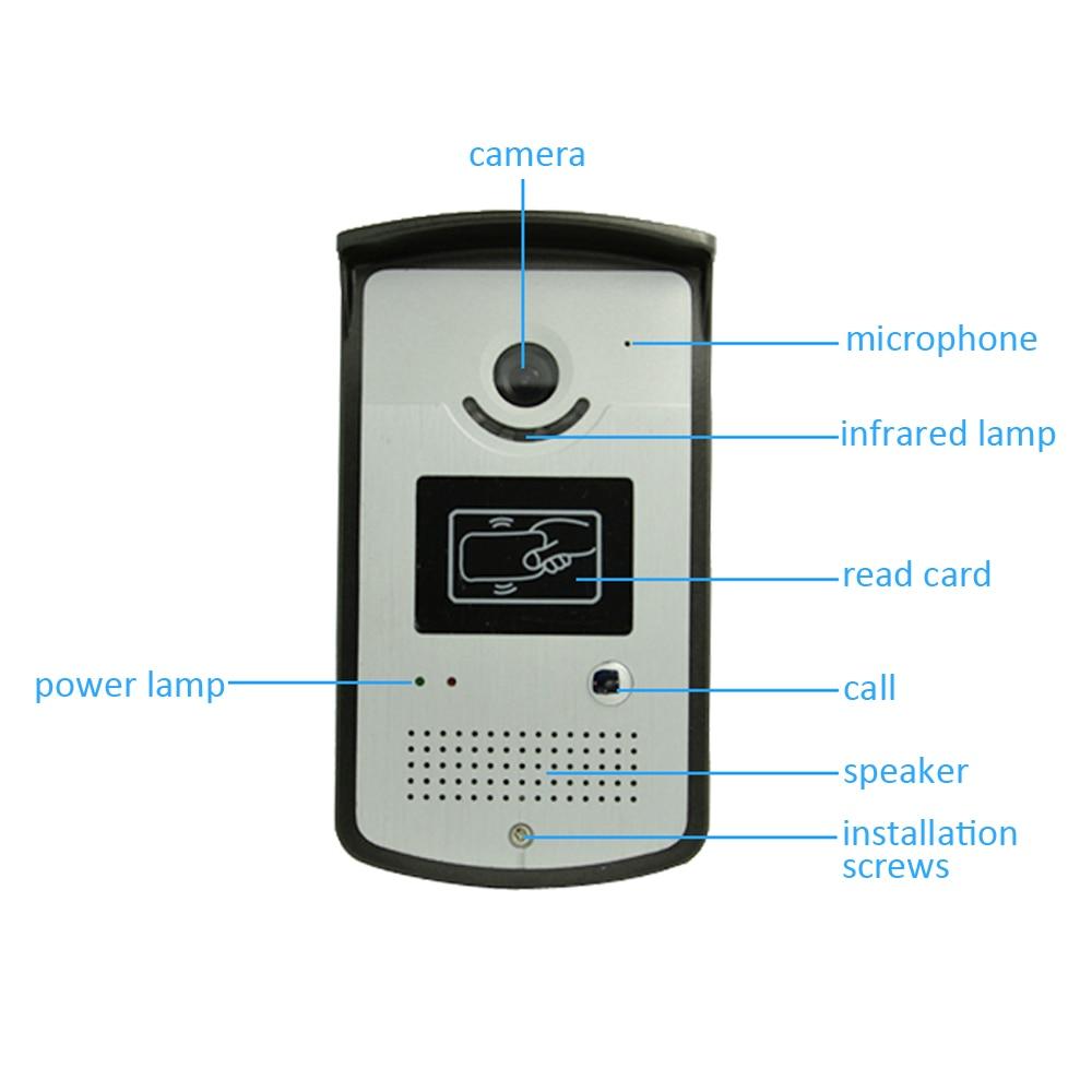 1 компл. Smart Home устройства 1 к 1 7 дюймов ЖК-дисплей отображения видео телефон двери звонок домофон с RFID разблокировать HD ночь