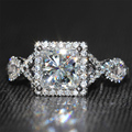 2 Carat ct New DEF Princess Cut  Engagement Lab Grown Moissanite Diamond Ring With Diamond Accents14K 585 White Gold