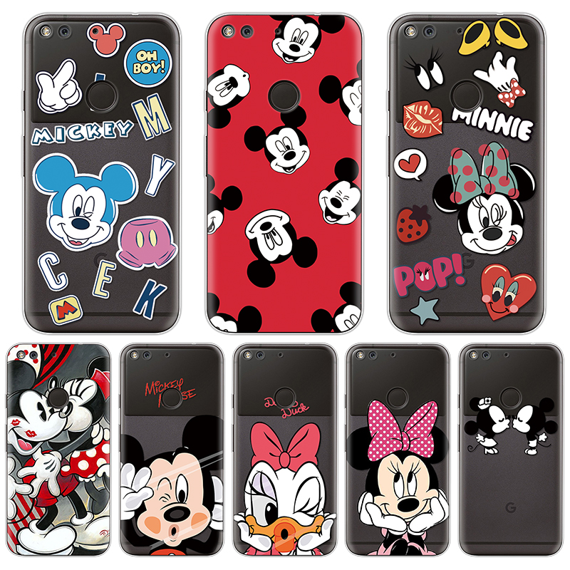 Minnie Mickey Soft TPU Cover Cases For Fundas Google Pixel XL Case Cartoon Protective Transparent Back Bags Coque Funny