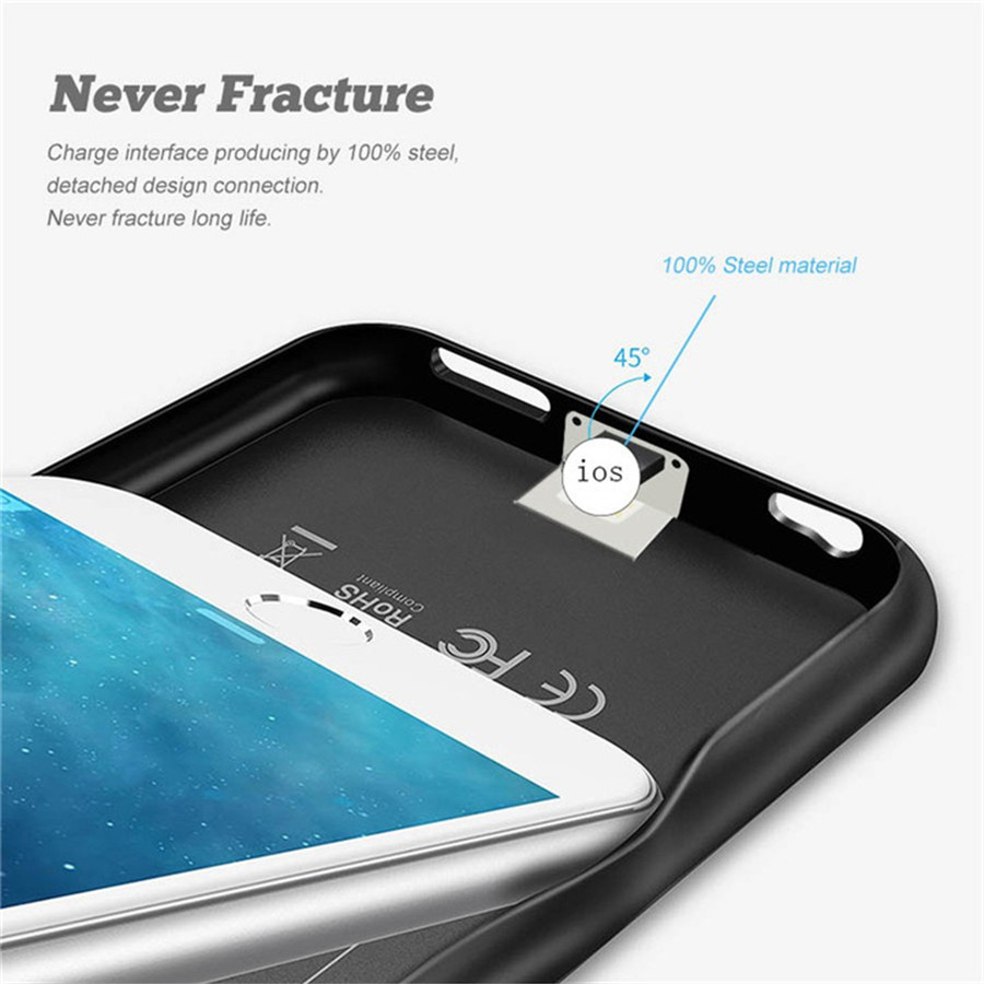 WST Battery Case For iPhone 6 6s 7 8 Plus Battery Charger Case Power Bank Charging Cases Charger Ultra Slim External Back Pack in Battery Charger Cases from Cellphones Telecommunications