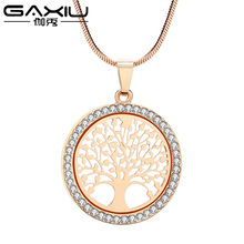 купить Zircon Life Tree Pendant Necklace For Women Rose Gold Silver Color Female Necklace Pendant Lover Sweater Chain Collier Femme дешево