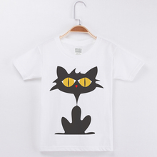 Funny T-Shirts Girls Short Sleeve Cotton O-Neck Boy Brand Tshirt Basic White Tee Shirt Cat Print Boys T Shirts Children Clothing navy basic knit round neck t shirts