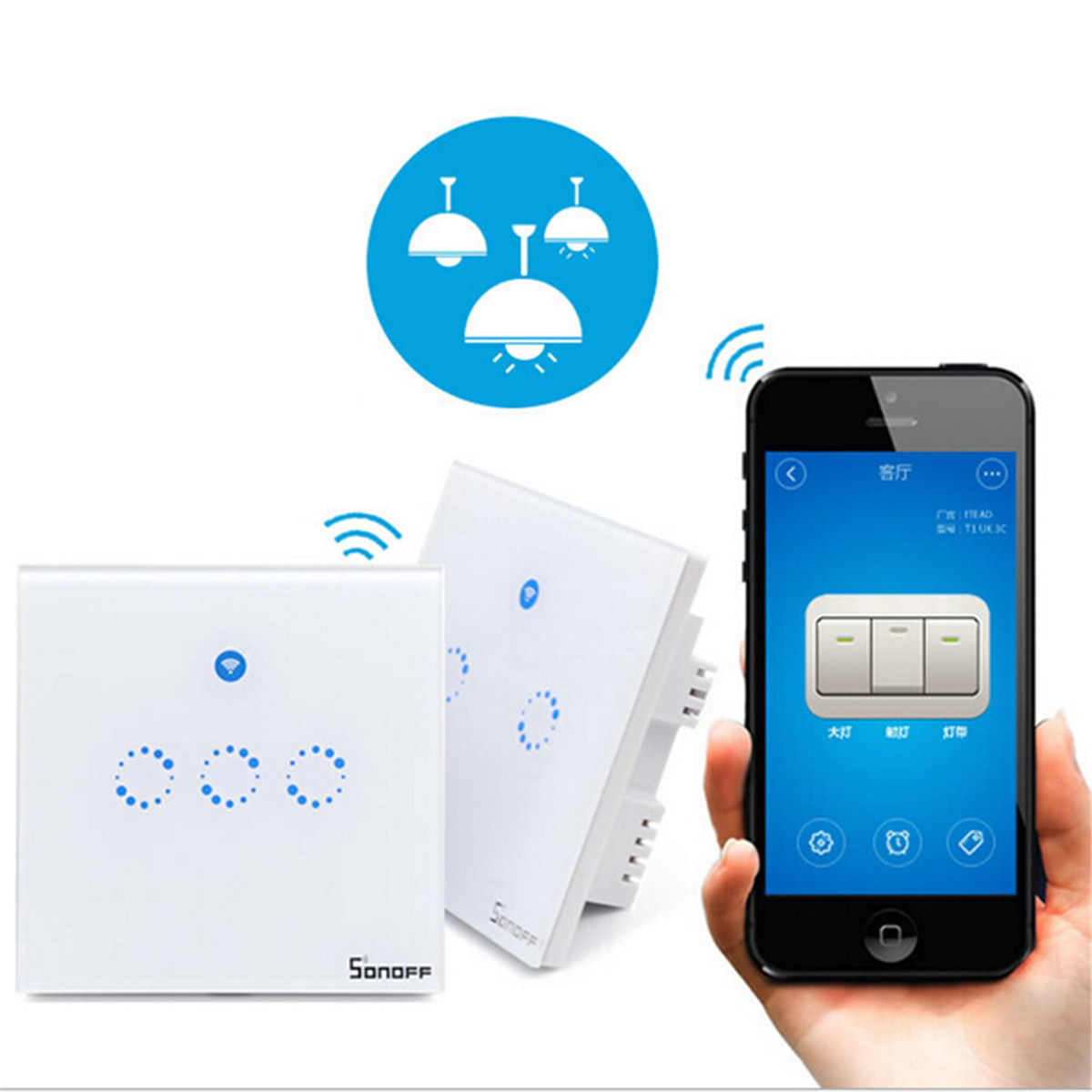 Sonoff smart switch touch control chiaro della parete interruttore EU/UK WiFi RF/1/2/3 combinazione pannello di tocco a muro interruttore della luce interruttore di casa intelligente