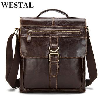 9a0b42f9df Custom Review WESTAL Messenger Bag Men Shoulder Bags Male Genuine Leather  Crossbody Bags for Men hasp zipper 10inch ipad Handbags Bag Man