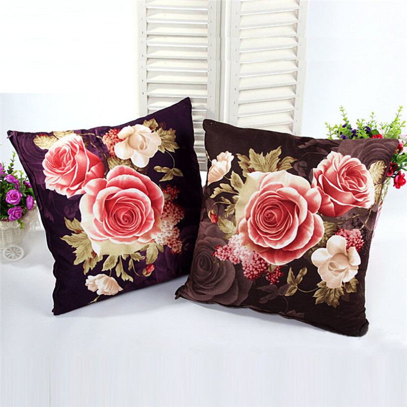 11.11 Printing Dyeing Peony Sofa Bed Home Decor Pillow Case Cushion Cover 2017 Multicolor Printed flower Pillowcase