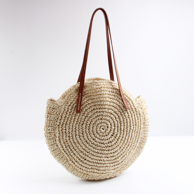 2018 new round straw woven beach bag woven large capacity single shoulder Crochet summer bag