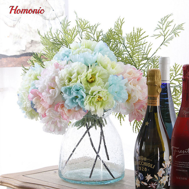 6pcs/lot mixed flowers bouquet Silk poppy bunch of flower fabric ...