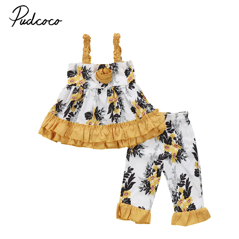 Toddler Baby Kids Girl Clothes Set Sleeveless Yellow Flower Tops T-Shirt Ruffle Pants Outfit Girls Clothing Summer Outfits 2PCs kids baby girls outfit clothes t shirt dot tops bloomers pants trousers 2pcs set x16