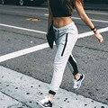 Europa e nos Estados Unidos outono nova costura moda Wei calças cintura elástica laço calças zíper lateral fechamento cinza esportivo