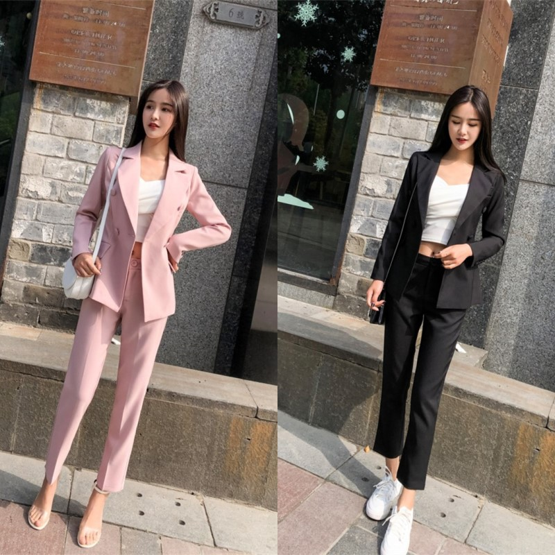 Pink Double Breasted Women Pant Suits Notched Blazer & High Waist Pencil Pant Solid OL Style Female 2 Pieces Set 2020