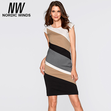 Nordicwinds 2016 autumn plus size women's fashion o-neck short sleeve striped bodycon career dress
