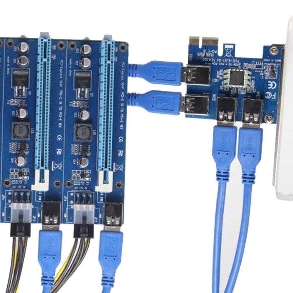 Nouvellement PCIe 1 à 4PCI Express 16X slots Riser Carte PCI-E 1X à Externe 4 PCI-e slot Adaptateur PCIe Port carte multiplicateur