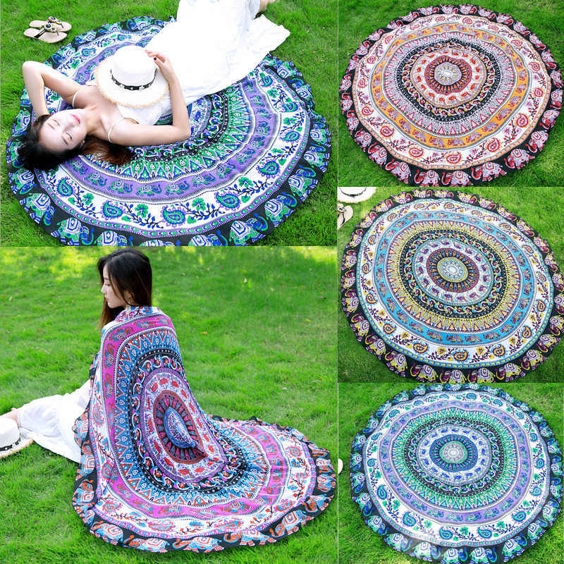 Newest Arrivals faroot 2018 Boho Tapestry Beach Throw Towel Mandala Round Indian Hippie Mat Picnic Blanket